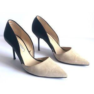"""ZARA woman 3"""" suede and metal heel"""